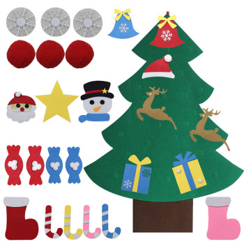 Kids DIY Felt Christmas Tree Artificial Tree Wall Hanging Ornaments Decoration for 2021 New Year Gifts Toys Santa Claus Xma Tree upside down xams tree decorative hanging ornaments 24 inch artificial inverted christmas tree decorations y
