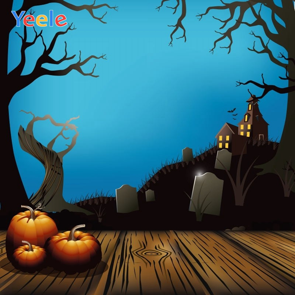 Yeele Halloween Backdrop Old House Tree Forest Mountain Pumpkin Tombstone Cartoon Photography Background For Photo Studio