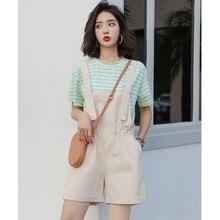 Two-piece Set Loose Thin Fashion New Casual Short-sleeved T-shirt Wide-leg Pants Sweet Bib Pant цена и фото