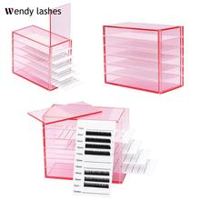 5 Layers Lash Boxes Transparent Eyelash Extension Storage Box Organizer Acrylic Lash Pallet Holder Case Grafting Eyelash Display