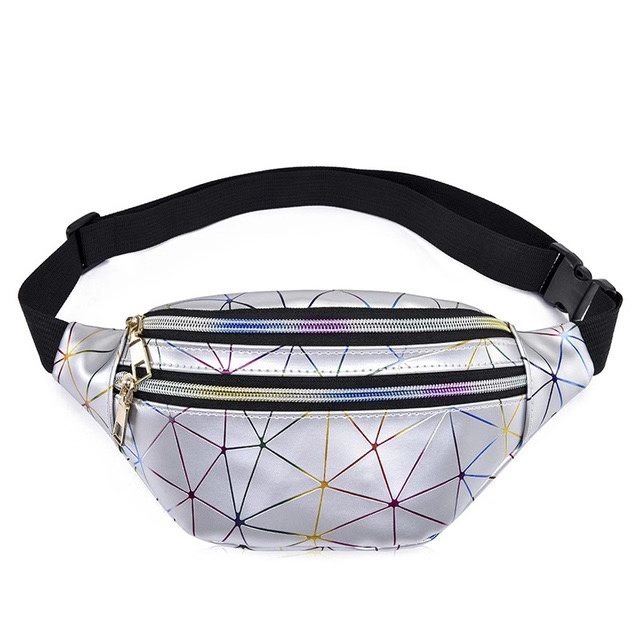 Holographic Waist Bags Women Pink Silver Fanny Pack Female Belt Bag Black Geometric Waist Packs Laser Chest Phone Pouch