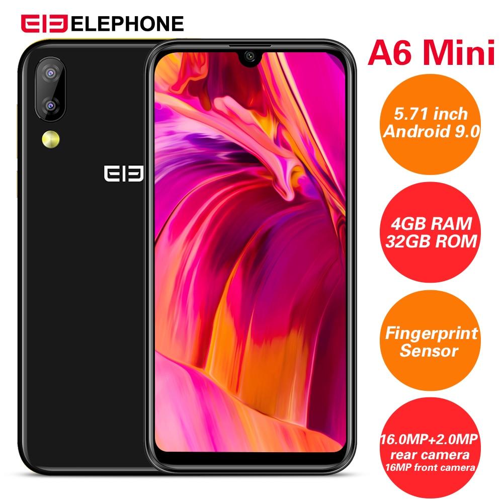 Elephone A6 Mini 4G Smartphone 5.71''Android 9.0 MT6761 Quad Core 2.0GHz 4GB RAM 32GB ROM 3 Cameras Side Fingerprint 3080mAh