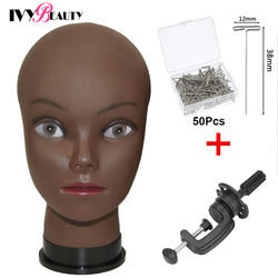 African Bald Mannequin Head Black 22inch Female Manikin Mode Professional Cosmetology For Wig Making Dummy Head With T-Pins