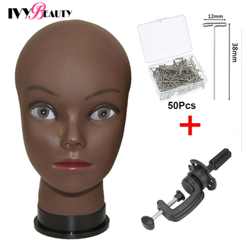 African Bald Mannequin Head Black 22inch Female Manikin Mode Professional Cosmetology For Wig Making Dummy With T-Pins