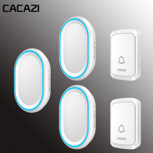 CACAZI Wireless Doorbell Intelligent Door Bell LED Night light 300M Remote Water