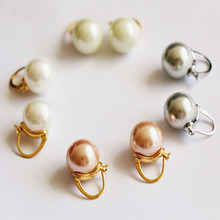 925 silver Vintage baroque girasol glass pearl earring for women huggie fashion earrings 2019 gray champagne