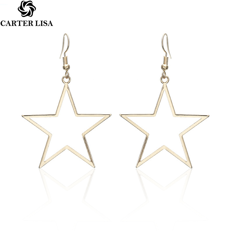 CARTER LISA Fashion Gold Star Drop Earrings For Women Big Personalized Dangle Earrings Jewelry Accessories HLEZ69000