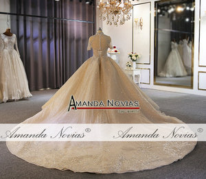 Image 2 - Luxury full heavy beading bridal wedding dress custom order with long train dubai weddings