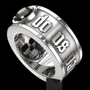 FDLK 'Till Death Do Us Part' Small Amount Stainless Steel Skull Ring Black Stainless