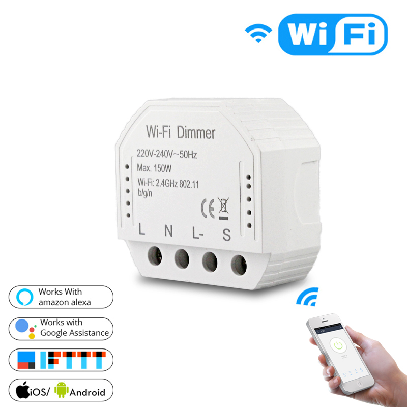 Smart WiFi Light LED Dimmer Switch Smart Life/Tuya APP Remote Control 1/2 Way Switch,Works With Alexa Echo Google Home IFTTT