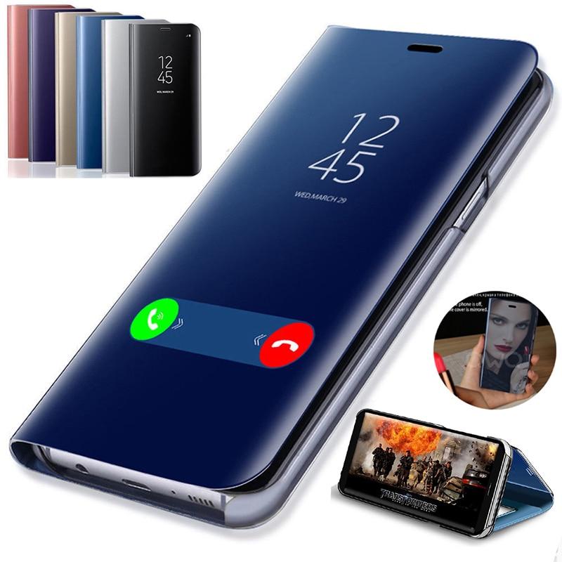 Funda con tapa tipo espejo para teléfono móvil, carcasa plegable, antigolpes para Samsung Galaxy A10, A30, A40, A50, A70, A80, M20, M30, j4 plus, J6, 2018, S7 edge, S8, S9 Plus, S10 Note 10 Pro 8 9