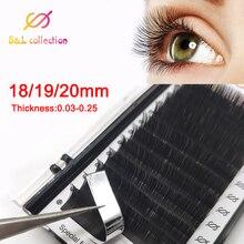 16 שורות/מקרה 18,19,20mm ארוך סגנון אורך במגש אחד maquiagem cilios משי בודדים טבעיים הארכת