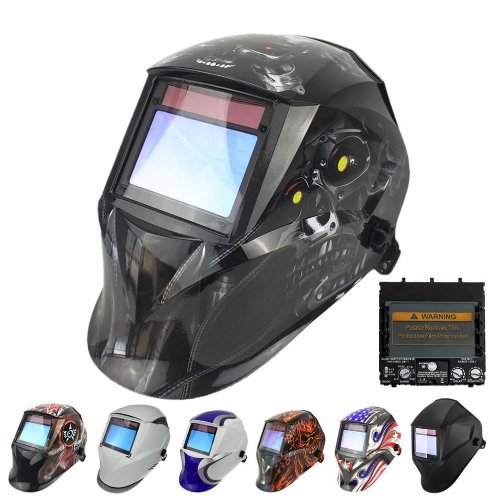 Welding Helmet 100x65mm 1111 4 Sensors Grinding DIN 3/4-13 MMA MIG TIG Welding Protection Solar Auto Darkening Welding Mask