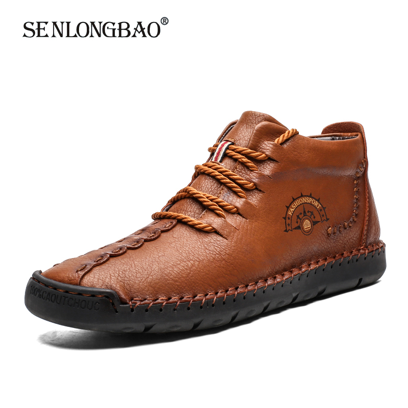 New Winter Men Waterproof Leather Ankle Boots Men Warm Plush Snow Boots Spring Autumn Fashion Men Casual Shoes Big Size 39-50