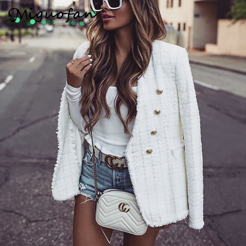 Miguofan Tweed Coat White Women Blazers Spring Office Blazer Elegant Veste Femme Sexy Ropa Mujer Basic Jackets Coat 2020 Zora
