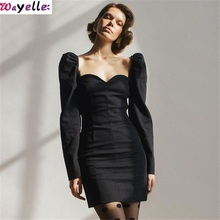 2019 Autumn NEW Womens Dress large Size L Black Casual Cool Comfortable Fashion  Clavicle Puff Sleeve Ladys Clothing