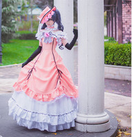 Anime Black Butler Ciel Phantomhive Cosplay Dress Women Cosplay Costumes Lolita Dress (Dress + Hat + Neck Accessory + Gloves)