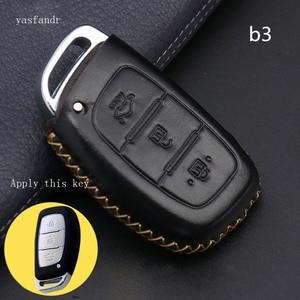 Image 5 - Car Key Case Cover Remote For Hyundai IX25 IX35 I20 I30 I40 hb20 Santa Fe Creta Solaris 2017 Genuine Leather 3 Buttons Key Shell