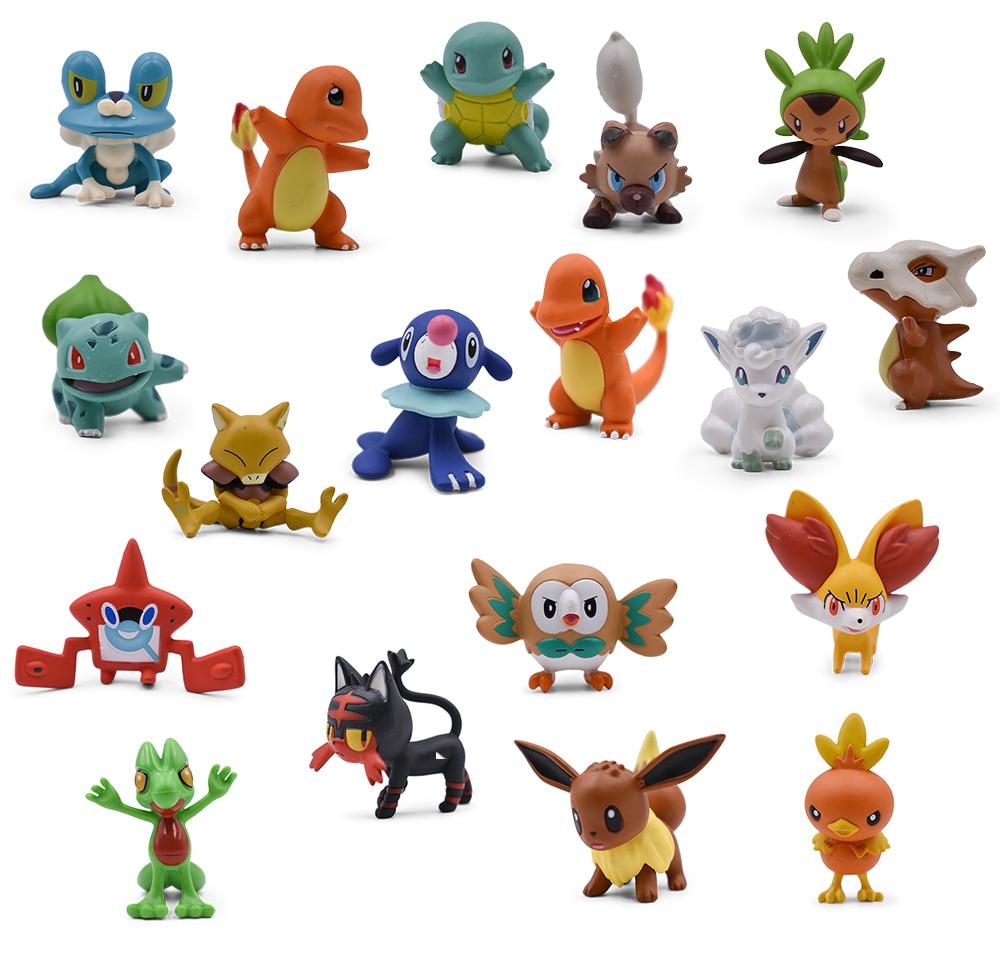 3-4cm 2'' Squirtle Charmander Eevee Popplio Torchic Treecko Riolu Rotom Rowlet Litten Anime Action Figure Doll Toys