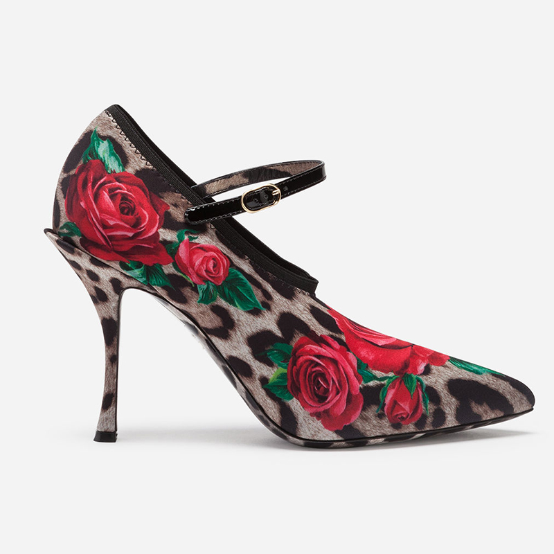 US4-11 Womens Pointed Toe Stretchy Stilettos High Heel Leopard 3D Rose Floral Printed Mixed Colors Pumps Shoes Show Party Plus