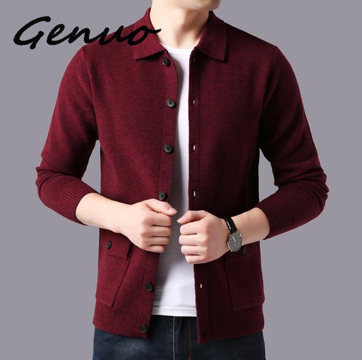 Genuo New 2019 Sweater Men Streetwear Fashion Sweater Coat Men Autumn Winter Warm Cashmere Woolen Cardigan Men With Pocket