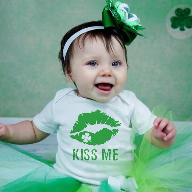 Yes I Am Irish But Please Don't Kiss Me/kiss Me St Patrick's Day Baby Unisex Bodysuit Shamrock Green Print Patrick's Day Onesie