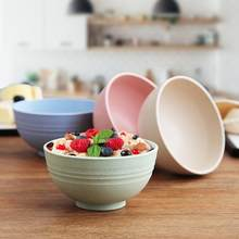 4pcs Colorful Wheat Straw Rice Noodle Salad Bowl Plate Sauces Snacks Dish Eco-friendly Kitchen Tableware Fiber Lightweight Bowl