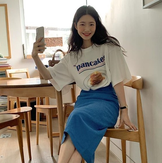 New Girls Summer T-shirt Women Suit Shirt Short Sleeves Tops High Waist Long Solid A Line Skirts Two Piece Suits Sell Separately 4