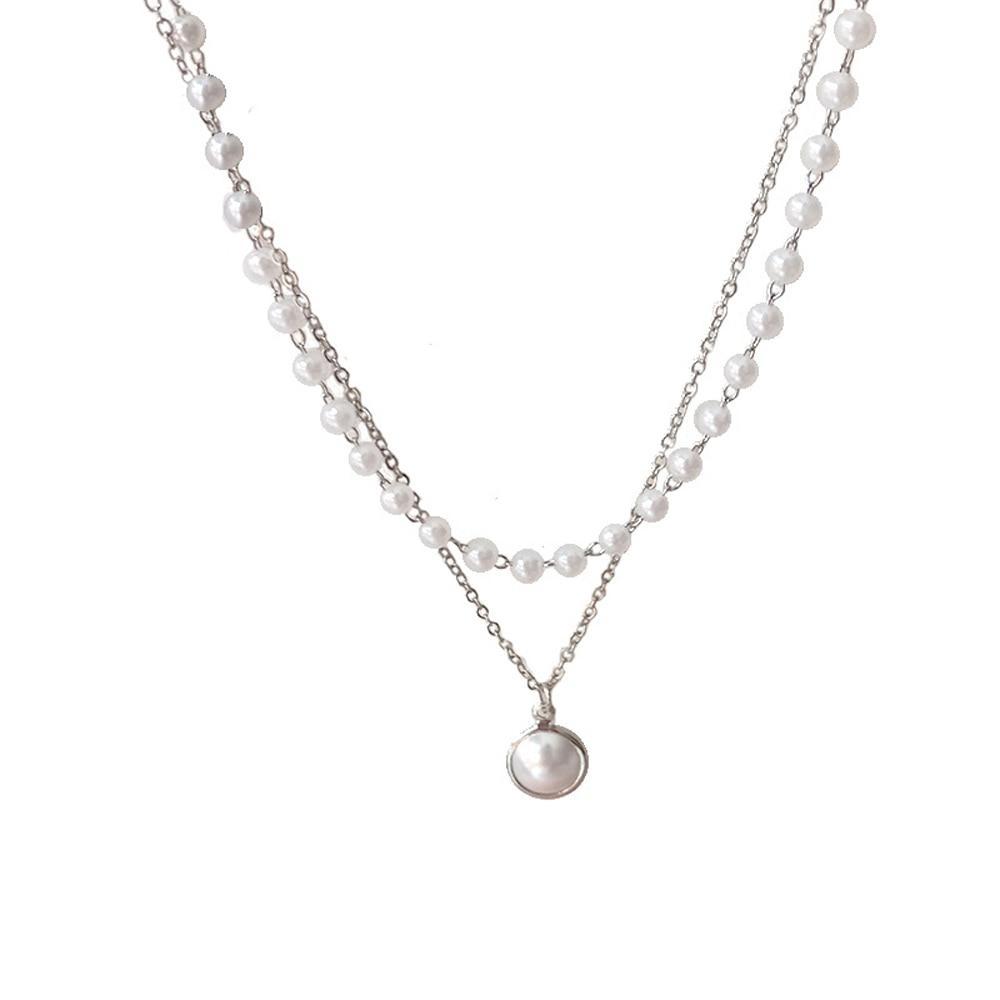 SUMENG 2021 New Fashion Kpop collana girocollo di perle simpatico ciondolo a catena a doppio strato per gioielli da donna regalo ragazza 2