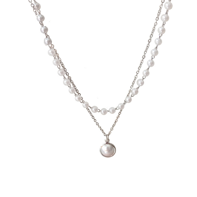 double layer chain and pearl necklace 2