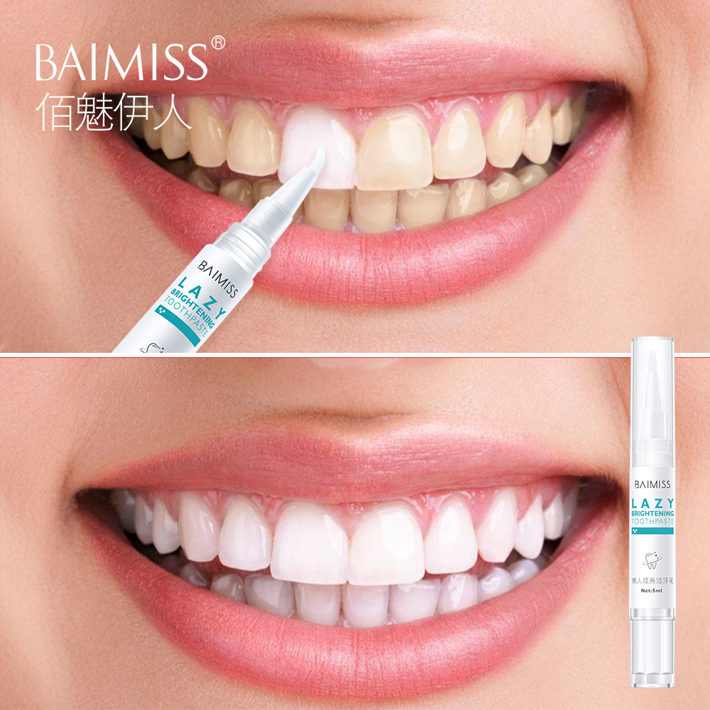 Baimiss Teeth Whitening Pen Dental Tools Serum Toothpaste Toothbrush Cleansing Essence Gel Oral Hygiene Remove Plaque Stains 5ml