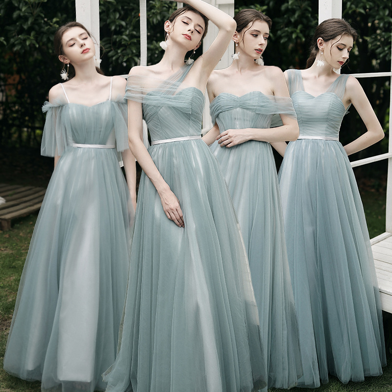 Fashion Mint Green Slim Bridesmaid Dress Sexy Off Shoulder Backless A Line Long Dress For Wedding Party Female Prom Dress