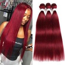 Droit Remy cheveux 1/3 paquets traiter 99J rouge Burg couleur naturelle brésilien cheveux humains faisceaux Extension tissage pour les femmes euphorie