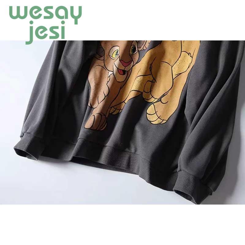 2019 Women Sweatshirts casual Cartoon Elephant Lion print Autumn pullover Tops O Neck Long Sleeve chic Harajuku Pullover women in Hoodies amp Sweatshirts from Women 39 s Clothing