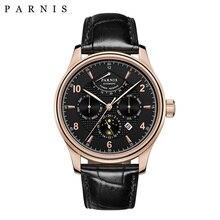 Marca relógio masculino mecânico 43mm parnis couro automático energia reservados relógios masculinos semana/data/fase da lua vestido de negócios relógio