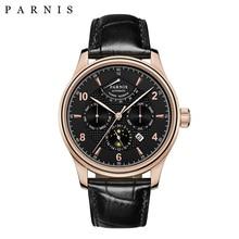 Merk Horloge Mannen Mechanische 43 Mm Parnis Lederen Automatische Power Voorbehouden Mannen Horloges Week/Datum/Moon Phase zakelijke Jurk Horloge