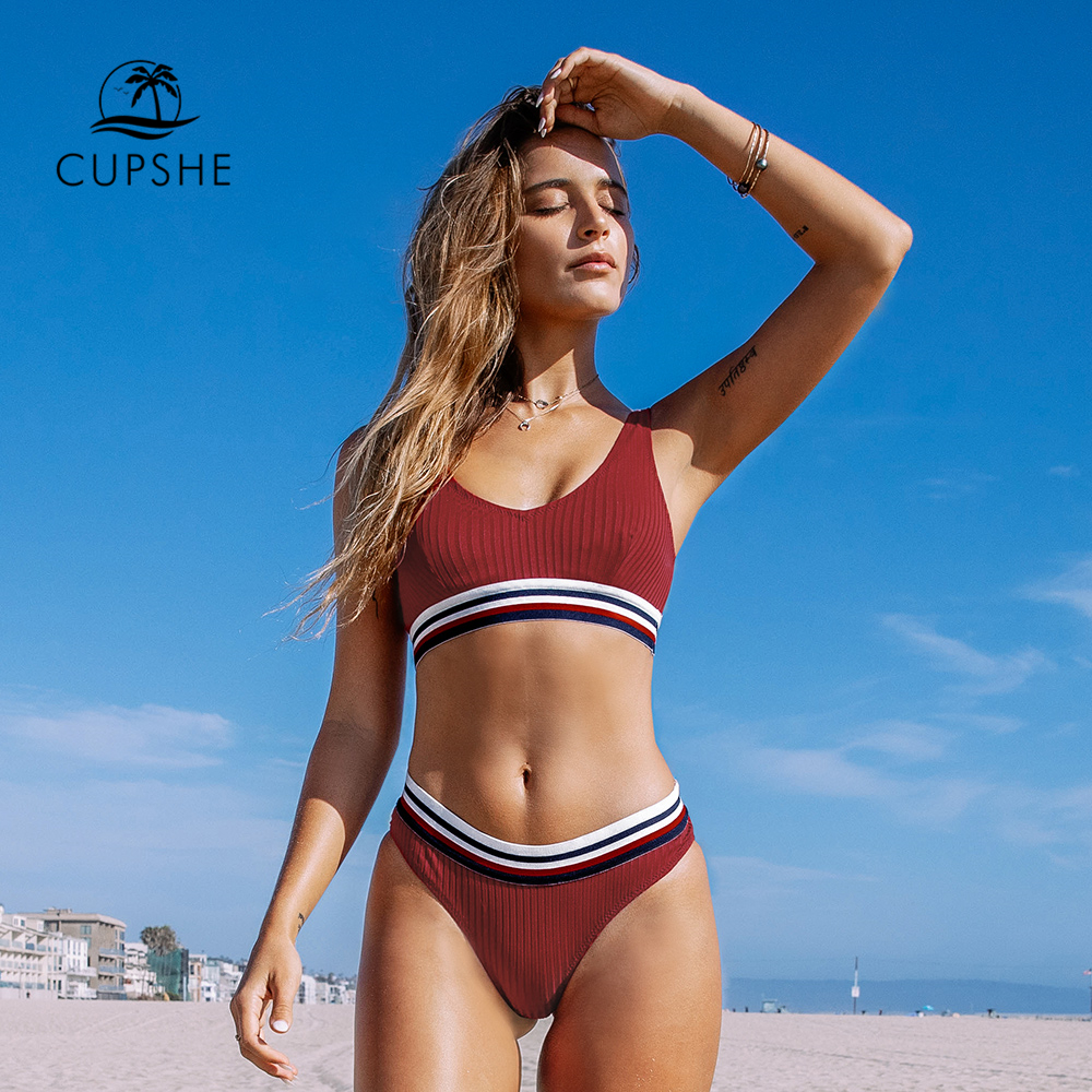 CUPSHE Red And Stripe Textured Sporty Bikini Sets Sexy Tank Top Swimsuit Two Pieces Swimwear Women 2020 Beach Bathing Suits