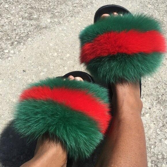 Fox//Raccoon Fur Sandal Shoes Flat Slides Indoor Home Outerdoor Slippers Women Ne