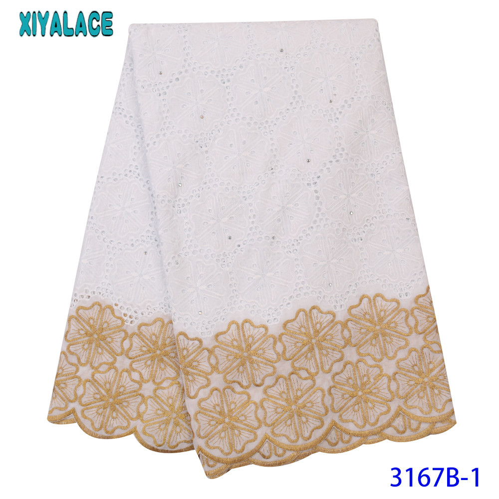 High Quality White And Gold Nigerian Wedding Lace Fabric Latest Swiss Voile Lace Cotton Lace Trim For Dresses KS3167B