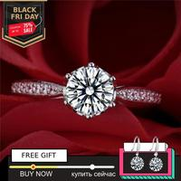6.5mm 1 Carat round cut Diamond Ring not fake S925 sterling silver fine wedding proposal anniversary yes i do engagement
