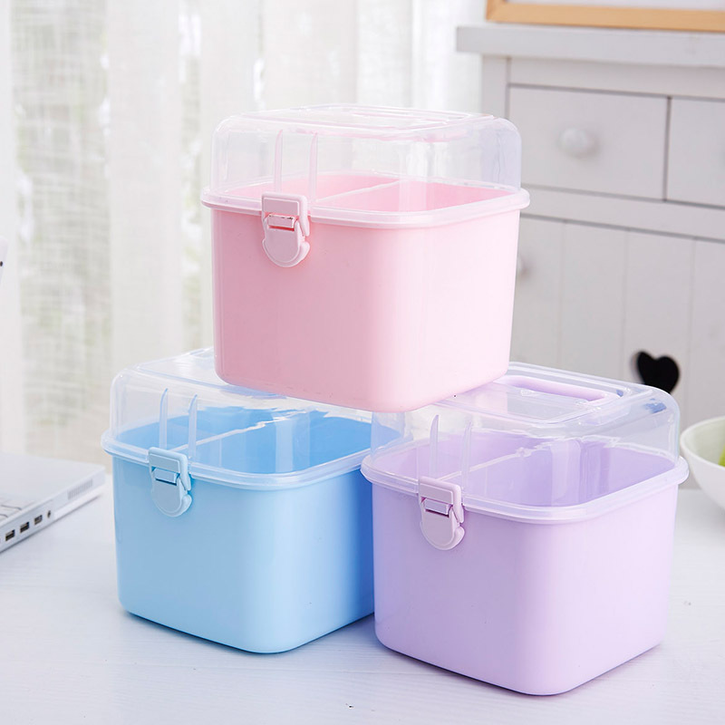 Transparent Household Plastic Medicine Storage Box Journey Hand Portable First Aid Box Cosmetic Box