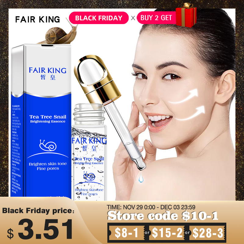 Face Serum Snail Extract Whitening Hyaluronic Acid Essence Skin Care Blemish Serum Ampoules Anti-acne Tea Tree Facial Liquid