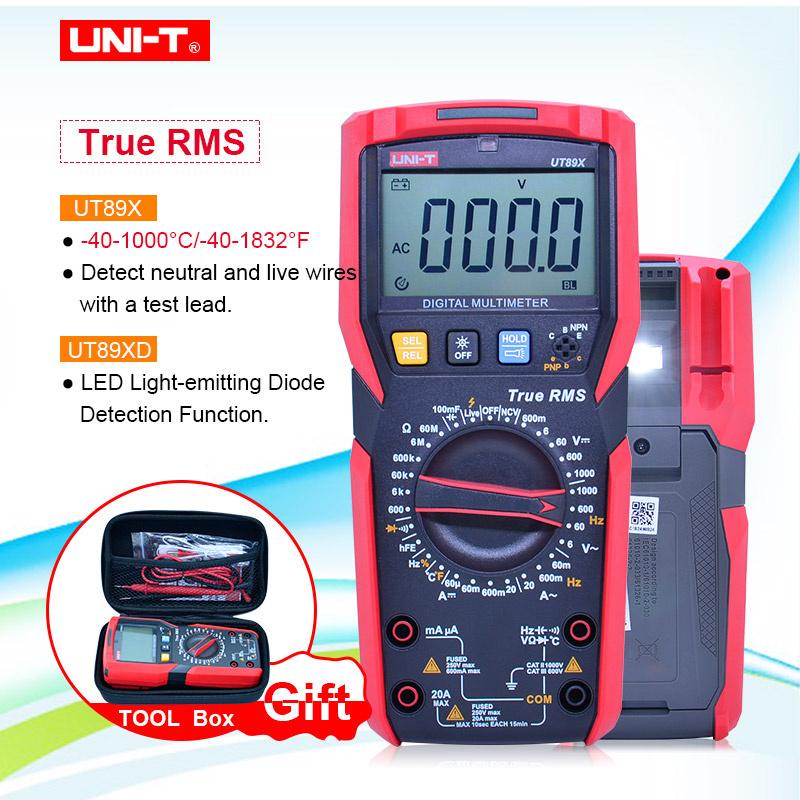 With EVA BOX UT89X UT89XD Professional Digital Multimeter True RMS NCV 20A Current AC DC Voltmeter Capacitance Resistance Tester