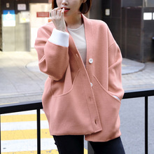 2019 New Sweater Loose V-Collar Double Hand Sewed Wool Coat Women V-Neck Single Breasted
