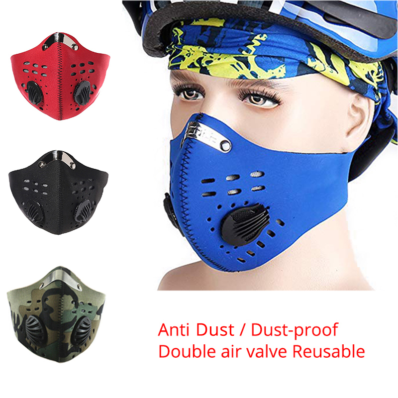 Activated Carbon Mask PM2.5 Anti Virus Grippe Staub Breathable Masks Double Air Valve Reusable Dust-proof Bicycle Face Mask