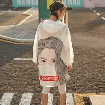 Sun Protection Jacket Women Thin Summer Coat Character Print Long Sleeve Drawstring Hooded Casual Outwear Protective Clothing baby jacket spring summer girls sun protective clothing children outwear cardigan girl leisure thin clothes floral sweatshirt