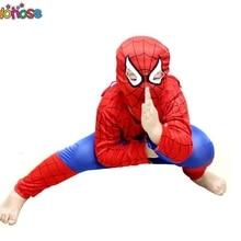 Красный костюм Человека-паука для костюмированной вечеринки; комплекты одежды для детей; костюм Человека-паука; костюм для Хэллоуина; костюм для костюмированной вечеринки для детей с длинными рукавами