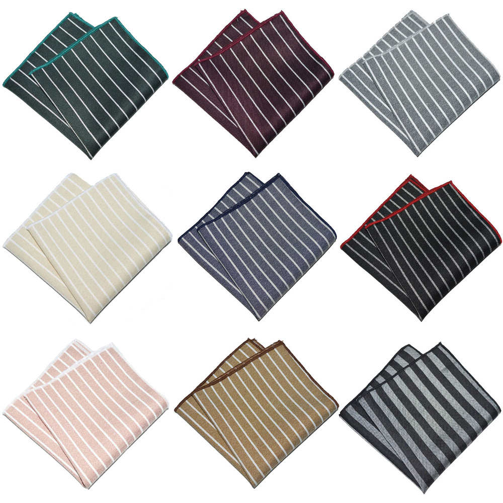 Men Formal Striped Handkerchief Wedding Party Business Pocket Square Hanky BWTYX0334