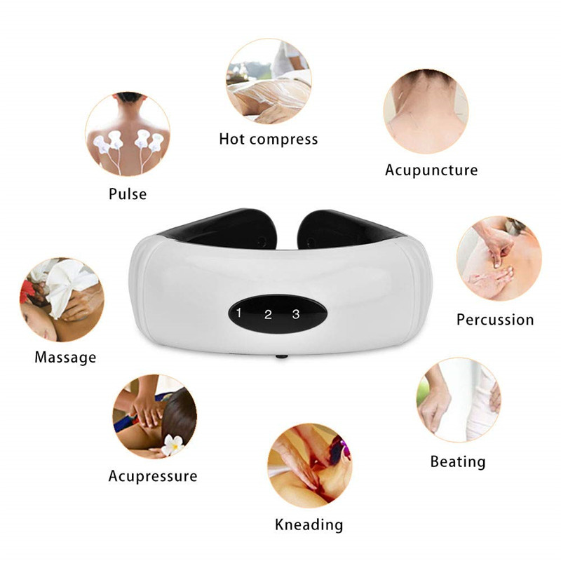 Electric Pulse Back and Neck Massager 6 Modes Massage Far Infrared Heating Pain Relief Tool Health Care Relaxation