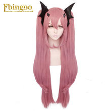Ebingoo Krul Tepes Wig Pink Wig Double Ponytail Natural Long Straight Synthetic Cosplay Wig for Women Costume Party(China)